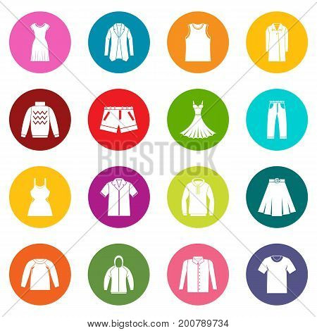 Different clothes icons many colors set isolated on white for digital marketing