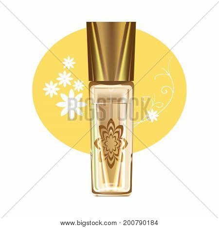 Realistic cosmetic products concept. Beautiful glass bottle with feminine fragrant perfume. Beach cosmetics. Sun protection. Vector illustration isolated on white background.
