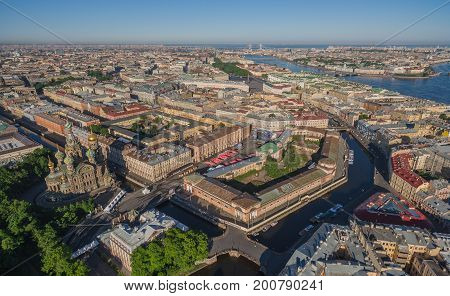 Aerial view of St. Petersburg center and Church of the Saviour on Spilled Blood, , Russia
