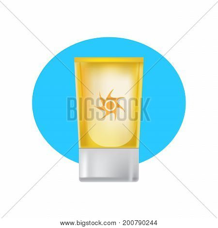 Realistic cosmetic products concept. Beautiful tube of suntan cream, skin care, beauty and health. Cosmetic tube mockup design. Beach cosmetics. Sun protection. Vector illustration isolated.