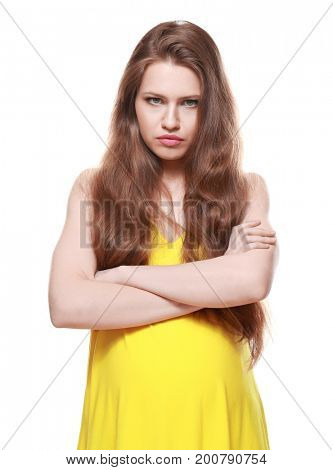 Emotional pregnant woman on white background. Pregnancy hormones concept