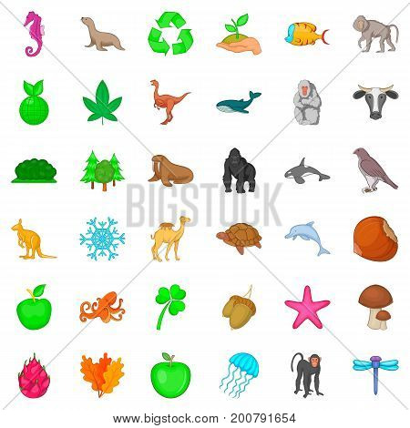 Bio icons set. Cartoon style of 36 bio vector icons for web isolated on white background