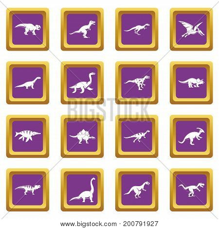 Dinosaur icons set in purple color isolated vector illustration for web and any design