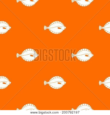 Flounder pattern repeat seamless in orange color for any design. Vector geometric illustration