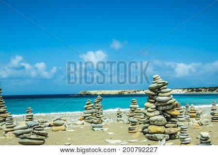 Stones pile on sea beach in cyprus