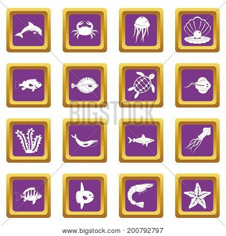 Sea animals icons set in purple color isolated vector illustration for web and any design