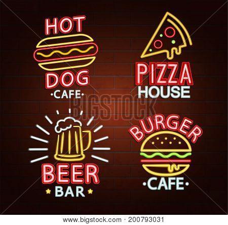 Set of Neon signs of beer bar, hot dog cafe, pizza house, burger cafe bright signboard, light banner. Neons Logos, emblems and symbols. Vector illustration.