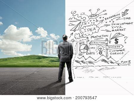 A businessman between a calm landscape and busy mind. Business strategy concept.