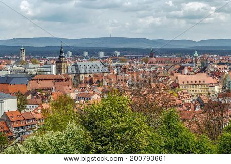 view of Bamberg historic center from Michaelsberg Abbey Germany