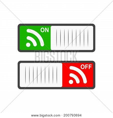 Switch on WI-FI On and Off position. Vector illustration. Switches in flat design