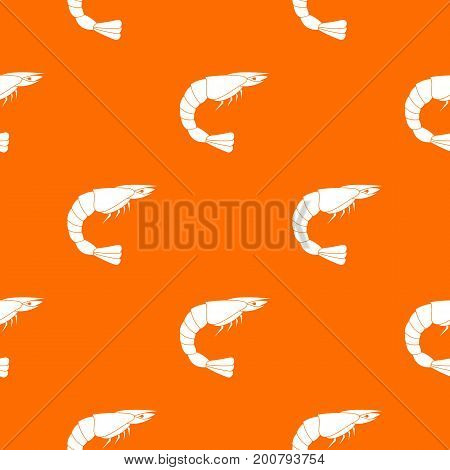 Fresh sea shrimp pattern repeat seamless in orange color for any design. Vector geometric illustration