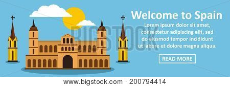 Welcome to spain banner horizontal concept. Flat illustration of welcome to spain banner horizontal vector concept for web