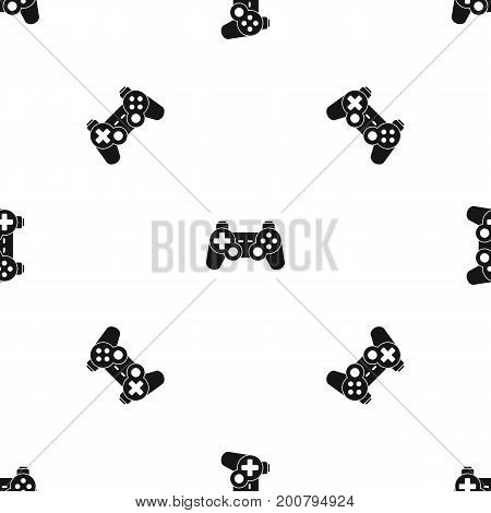 Game controller pattern repeat seamless in black color for any design. Vector geometric illustration