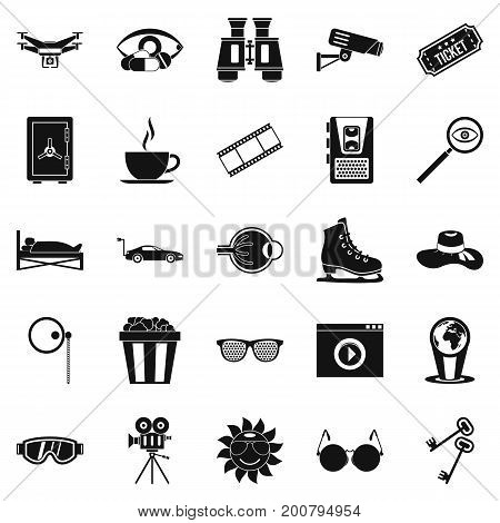 Eyeglasses icons set. Simple set of 25 eyeglasses vector icons for web isolated on white background