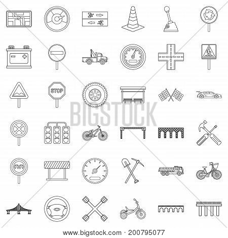 Road icons set. Outline style of 36 road vector icons for web isolated on white background