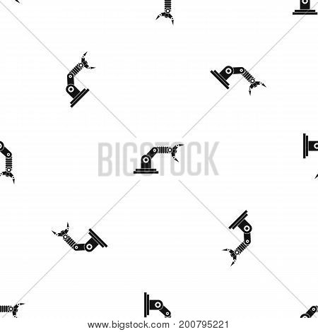 Robotic hand manipulator pattern repeat seamless in black color for any design. Vector geometric illustration