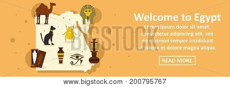 Welcome to egypt banner horizontal concept. Flat illustration of welcome to egypt banner horizontal vector concept for web