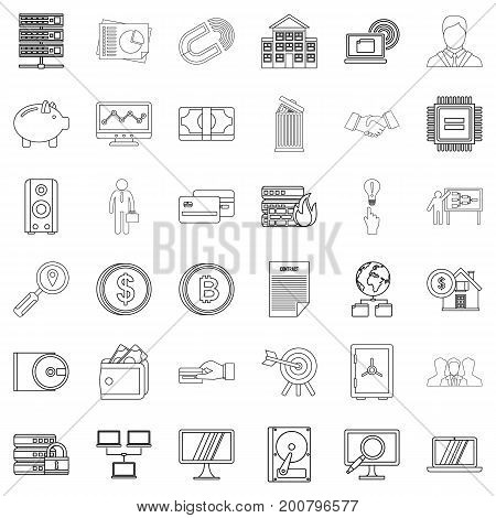 Money icons set. Outline style of 36 money vector icons for web isolated on white background