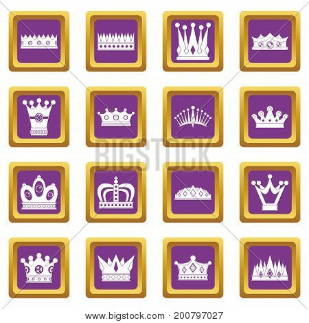 Crown icons set in purple color isolated vector illustration for web and any design