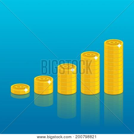 Bitcoin stack set. Virtual currency exchanging and storing, good digital wallet. Financial growth concept. Cartoon vector illustration on blue background