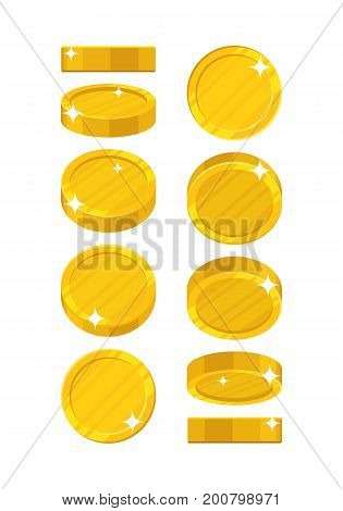 Golden coins in different positions. Balance profit, income statement and cash flow statement. Cartoon vector illustration on white background