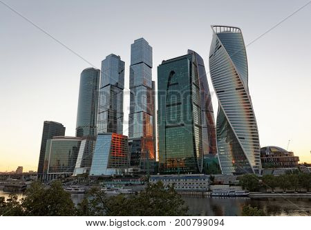 MOSCOW,RUSSIA, JULY 21, 2017: New skyscrapers business centre in Moscow city, Russia