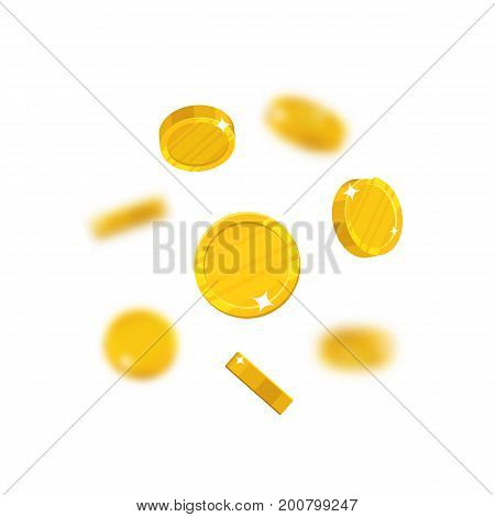Gold coins flying cartoon isolated. Gold dollars with the effect flying in the air in a cartoon style for designers and illustrators. Floating pieces in the form of vector illustrations