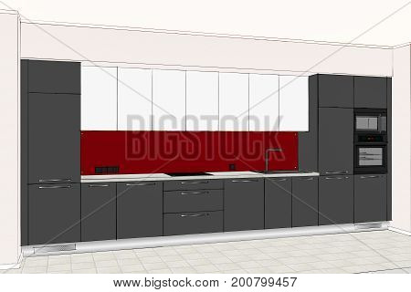 3D rendering. Beautiful modern kitchen design in light interior. Kitchen sketch.