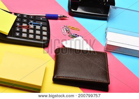 Wallet, Business Card Holder, Calculator And Note Paper, Close Up