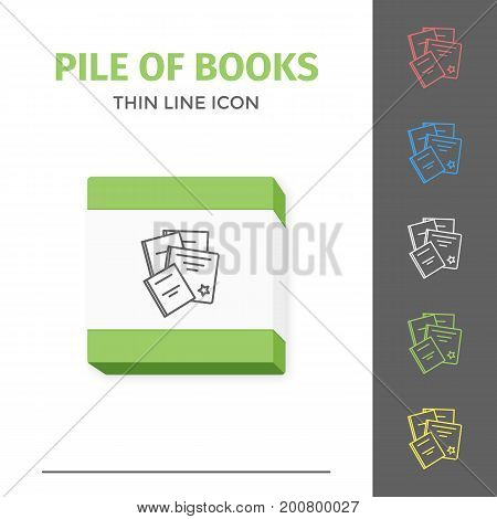 Thin lined learning book icon. Vector isolated on white outlined sign of pile of different closed books in top view.