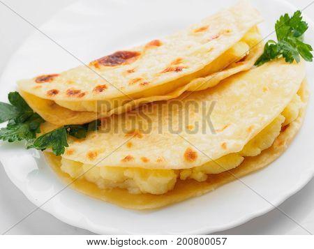Kystybyi Tatar Potato Pie On The White Plate