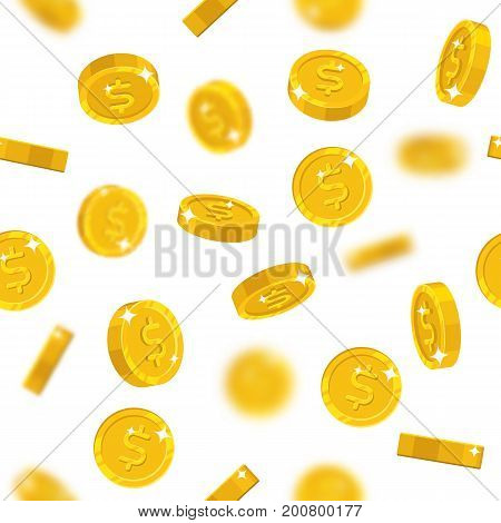 Flying gold dollars seamless pattern. Background of flying gold dollars as a pattern for designers and illustrators. Cover of floating gold pieces in the form of vector illustration