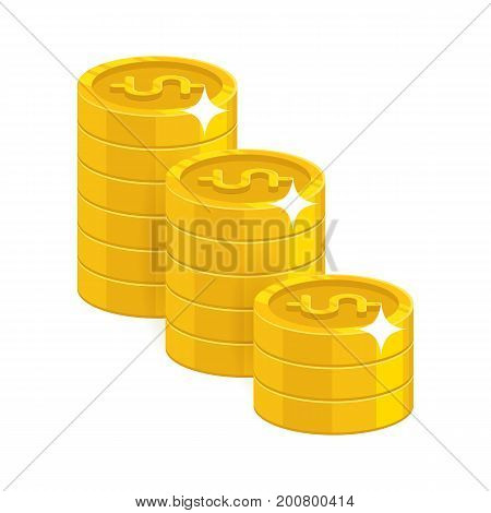 Gold dollar coins. Having a lot of money and possessions symbol. Business finance and economy concept. Cartoon vector illustration isolated on white background