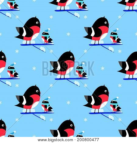 Bullfinch branch seamless pattern vector new year, sky,  , wrapping
