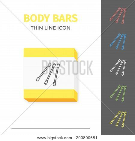Simple thin line stroked fitness handle body bars vector isolated sport icon. Concept of healthy still life equipment