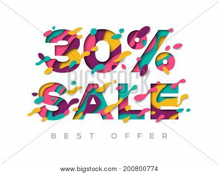 Paper cut sale 30 percent off. 30 discount 3d sign isolated on white background. Vector illustration. Sale symbol, special offer label, sticker tag, banner, advertising badge