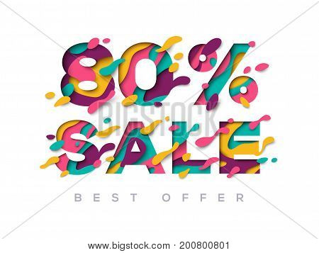 Paper cut sale 80 percent off. 80 discount 3d sign isolated on white background. Vector illustration. Sale symbol concept, special offer label, sticker tag, banner, advertising badge