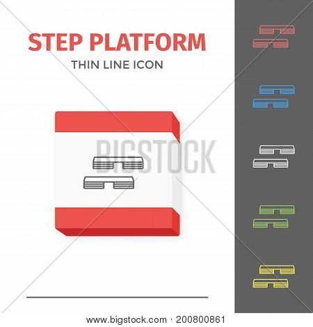 Simple thin line stroked fitness step platform vector isolated sport icon.