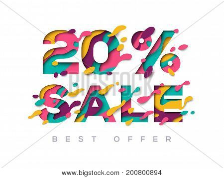 Paper cut sale 20 percent off. 20 discount 3d sign isolated on white background. Vector illustration. Sale symbol concept, special offer label, sticker tag, banner, advertising badge