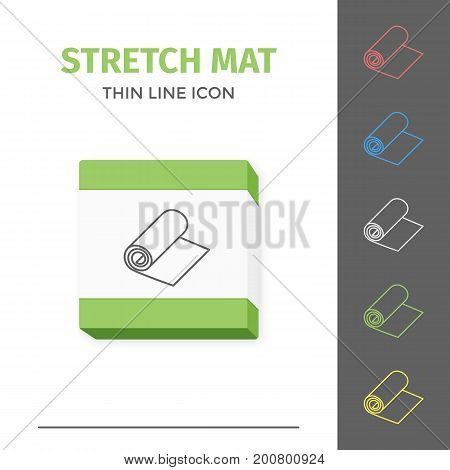 Simple thin line stroked fitness stretch exercise or yoga mat vector isolated sport icon. Concept of healthy still life equipment