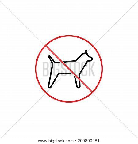 No Dogs Prohibition Sign On White Background