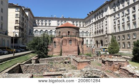 SOFIA, BULGARIA - AUGUST 01, 2017: monument of Saint Sophia in Sofia was erected in 2000 and stands in a spot once occupied by a statue of Lenin