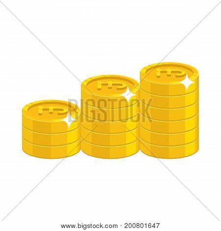 Gold pound coins. Having a lot of money and possessions symbol. Business finance and economy concept. Cartoon vector illustration isolated on white background