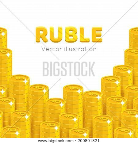 Gold rubles piles cartoon template. Stacks of gold rubles template for designers and illustrators. Pattern of gold pieces in the form of a vector illustration