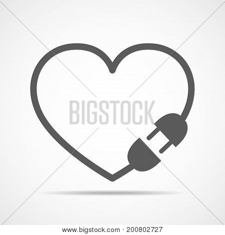 Electric cable plug and socket in the form of the heart. Vector illustration. Love concept