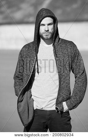 Man Sport Fashion, Bearded Guy Model In Black Hoodie