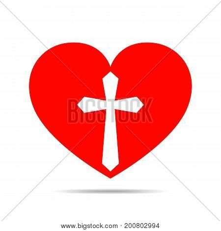 Heart with Christian cross. Red heart icon isolated on white background. Vector illustration. Christian symbol.