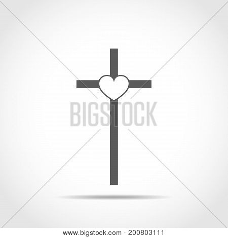 Christian cross with heart. Gray Christian cross on light background. Vector illustration.