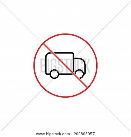 No Trucks Prohibition Sign On White Background