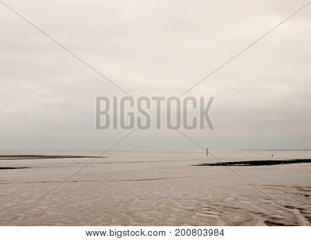 Beautiful Empty White Grey Overcast River With Mudflat Patterns
